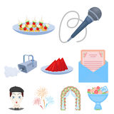 Event service set icons in cartoon style.   Royalty Free Stock Photos