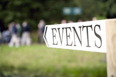 Event sign. Pointing direction for crowd stock photography
