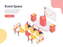 Event Space Illustration Concept. Isometric design concept of web page design for website and mobile website.Vector illustration stock photography