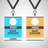 Event staff and press id cards set with lanyards. Vector vector illustration