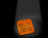 Event stub. Special event ticket stub in spotlight Stock Images