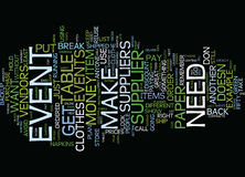 Event Suppliers Text Background Word Cloud Concept Royalty Free Stock Photos