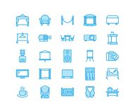 Free Event Supplies Flat Line Icons. Party Equipment - Stage Constructions, Visual Projector, Stanchion, Flipchart, Marquee Royalty Free Stock Photography - 107505327