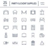 Event supplies flat line icons. Party equipment - stage constructions, visual projector, stanchion, flipchart, marquee. Thin linear signs for catering stock illustration