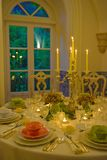 Event Tables Decoration, Dinner Party, Wedding or Birthday Banquet Royalty Free Stock Photos
