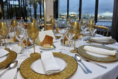 Event Tables Set, Dinner Party with Ocean view, Lecture Banquet Decoration Royalty Free Stock Photo