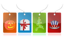 Event tags. Christmas tree, evil pumpkin, present box, us hat illustration tags isolated over white Stock Image