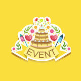 Event Template Label Cute Sticker With Cake And Fireworks. Childish Design Colorful Vector Sticker On Bright Background Stock Images