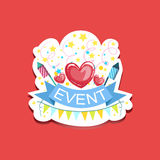 Event Template Label Cute Sticker With Heart And Fireworks. Childish Design Colorful Vector Sticker On Bright Background Stock Images