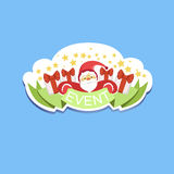Event Template Label Cute Sticker With Santa Claus Stock Photos