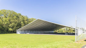Event tent. Prepared for the open days at CERN, Geneva stock image