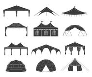 Event tent set. Black fabric shelter silhouette, for party rentals, wedding, outdoor and summer events houses. Vector flat style cartoon illustration isolated vector illustration