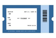 Event ticket. Illustration of ticket for event with bar code, isolated on white background Stock Photo