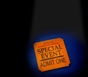 Event ticket. Stub in spotlight, on blue Stock Image