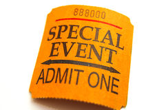Event ticket. Special event ticket closeup, isolated on white Royalty Free Stock Photography