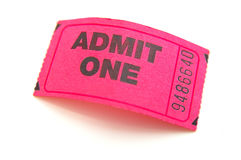 Event ticket. Closeup of a pink ticket stub, isolated on white Stock Photography