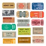 Event ticket collection. Paper, cardboard certificate, right of admission to a place of assembly, cinema, party, theatre. Vector flat style cartoon Royalty Free Stock Photos