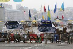 The event in Ukraine is Maidan. Barikada with revolutionaries. Ukraine, Kiev. The event in Ukraine is Maidan. Barikada with revolutionaries. The people in the stock photo