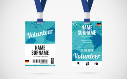 Event volunteer id card set vector design illustration. Event volunteer id card set with lanyard. vector design and text template illustration royalty free illustration
