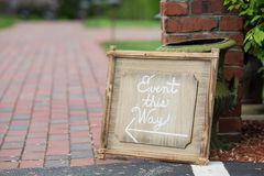Event this way wedding direction sign Royalty Free Stock Photography
