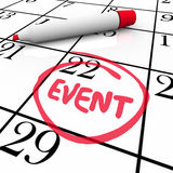 Event Word Circled Calendar Date Special Day Party Meeting Royalty Free Stock Images