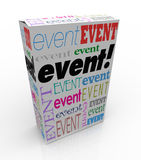 Event Word Package Box Advertise Special Show Meeting. Event word on a product package or box advertising or marketing a special performance, show or meeting Stock Photos