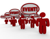 Event Word Speech Bubbles People Talking Spreading Message Stock Photography