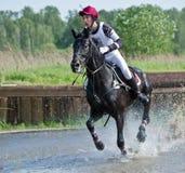 Eventer auf Pferd ist überwindt den Wasserschwall Lizenzfreies Stockbild