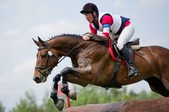 Eventer en caballo es supera la cerca del registro Foto de archivo