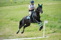 Eventer en caballo es supera la zanja abierta Imagen de archivo libre de regalías