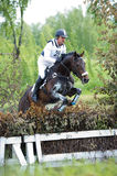 Eventer on horse is negotiating Bullfinch Royalty Free Stock Images