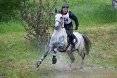 Eventer on horse is negotiating the Water jump Stock Images