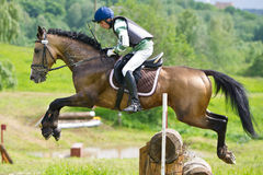 Rider on jumping horse negotiating cross Log fence Stock Photo