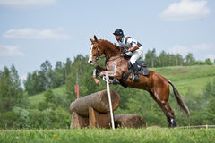 Eventer on horse is overcomes the Log fence Stock Photo
