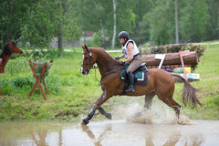 Eventer on horse is overcomes the Water jump Stock Photos