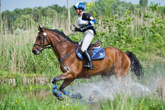 Eventer on horse is overcomes the Water jump Stock Image