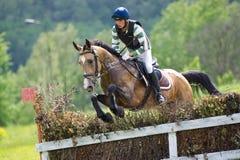 Eventer horseback jump overcomes cross-country fen Stock Photos