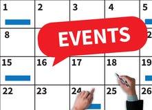 EVENTI (COMUNICAZIONE DI ANNUNCIO DELL'UFFICIO DI AFFARI) fotografie stock