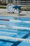 Eventi di nuoto cronometrati. Fotografia Stock