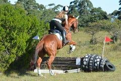 Eventing骑马者在国家 库存照片