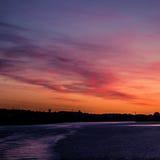eventing从轮渡的瑞典冬天的美好,五颜六色的海景 库存图片