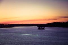 eventing从轮渡的瑞典冬天的美好,五颜六色的海景 图库摄影