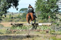 Eventing equestrian jumping skiramp Stock Photo