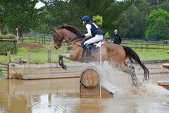 Eventing horse jumping in water complex Stock Photo