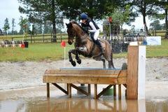 Eventing-Pferd, welches die Tabelle springt Stockbilder