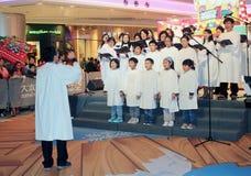 Evento caroling de la Nochebuena de Hong Kong en alameda del ámbito Fotografía de archivo