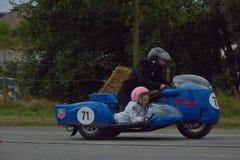 Evento da corrida do ciclo dos anos setenta, motociclistas dos anos 70 Fotos de Stock