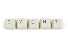 Evento dalle chiavi di tastiera sparse su bianco Fotografia Stock