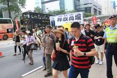 Evento 2015 de la marcha de Hong Kong del vigésimo sexto aniversario de las protestas de la Plaza de Tiananmen de 1989 Fotos de archivo libres de regalías