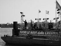 Evento de la protesta en Venecia en blanco y negro Fotos de archivo libres de regalías